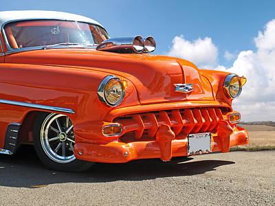 Hot Orange Chevy Art Print