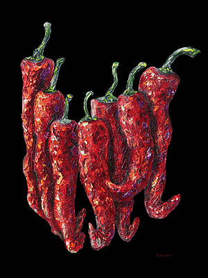 Painting - Hot Peppers by OLena Art Brand