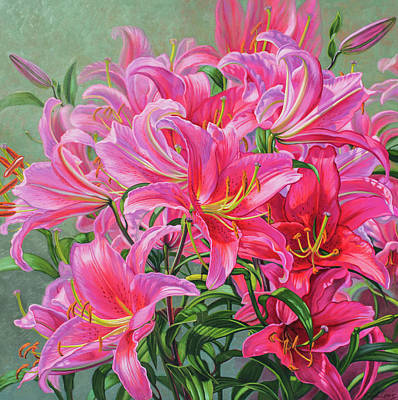 Lilium Painting - Hot Pink Asiatic Lilies by Fiona Craig