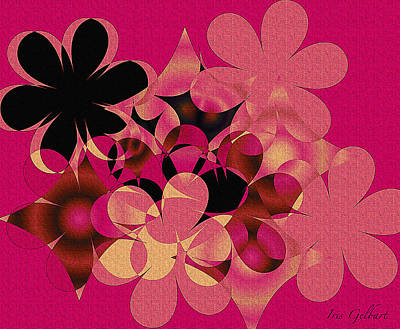 Digital Art - Hot Pink Blooms by Iris Gelbart