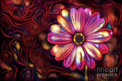 Daisies Digital Art - Hot Pink Daisy by Amy Cicconi