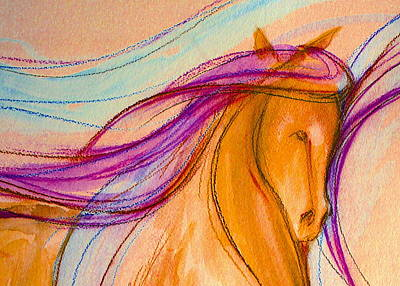 Sporthorse Mixed Media - Hot Pink Mane by Jennifer Fosgate