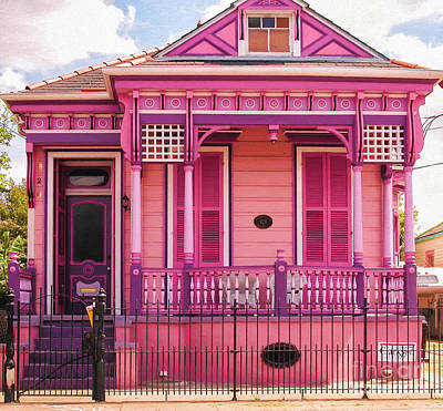 Photograph - Hot Pink New Orleans Cottage by Kathleen K Parker