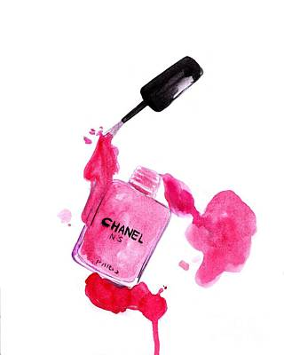 For Salons Painting - Hot Pink Polish Of Nails by Sweeping Girl