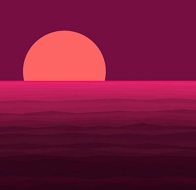 Abstract Seascape Digital Art - Hot Pink Sunset by Val Arie