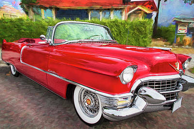 Photograph - Hot Red 1955 Cadillac Convertible by Peggy Collins
