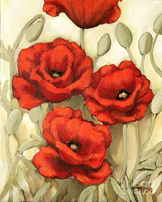 Painting - Hot Red Poppies by Inese Poga