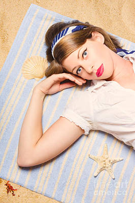 Photograph - Hot Retro Pinup Girl Lying On Beach In Australia by Jorgo Photography - Wall Art Gallery