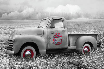 Photograph - Hot Rod Chevrolet Pickup Truck In Black And White And Red Color  by Debra and Dave Vanderlaan