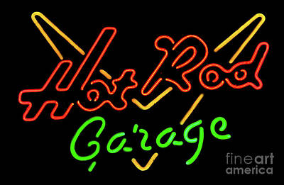 Photograph - Hot Rod Garage Neon Sign by Miles Whittingham
