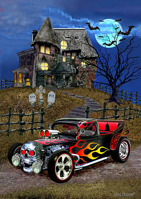 Haunted House Digital Art - Hot Rod Of Haunted Hill by Glenn Holbrook