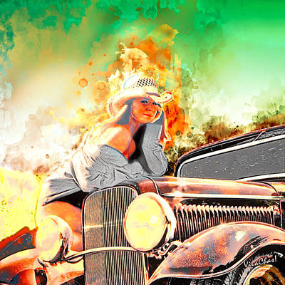 Digital Art - Hot Rod Pinup Happiness Is A Warm Sun by Chas Sinklier