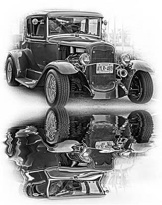 Street Rod Photograph - Hot Rod - Reflection Bw by Steve Harrington