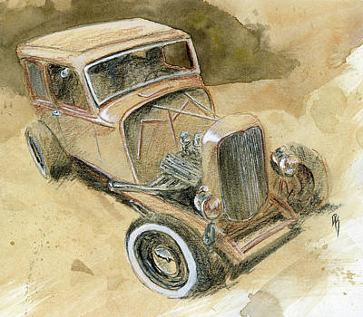 Drawing - Hot Rod Tudor by David King