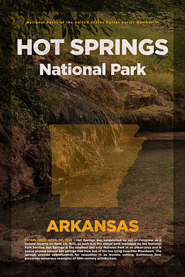 Travel Mixed Media - Hot Springs National Park In Arkansas Travel Poster Series Of National Parks Number 31 by Design Turnpike