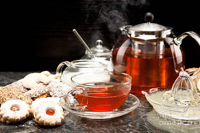 Tea Photograph - Hot Steaming Tea With Christmas Biscuits by Wolfgang Steiner