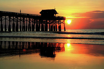 Photograph - Hot Sunrise Over Cocoa Beach Pier  by Carol Montoya
