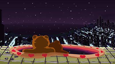 Endearing Digital Art - Hot Tub Teddy Bears by Jason Sharpe