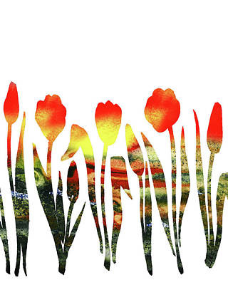 Painting - Hot Tulips Watercolor Silhouette by Irina Sztukowski