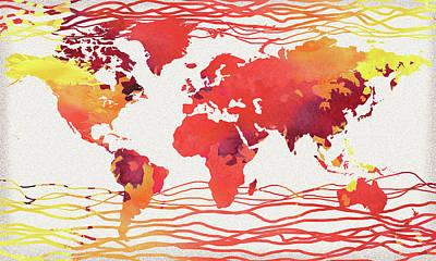 Painting - Hot Wave World Map Watercolor by Irina Sztukowski