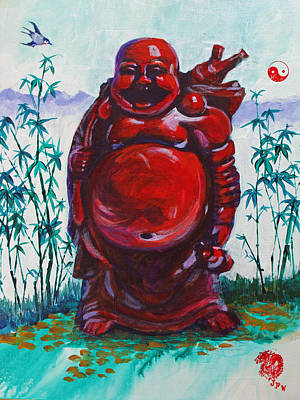 Painting - Hotai The Laughing Buddha by Judy Fischer Walton