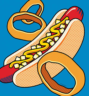Ring Digital Art - Hotdog On Blue by Ron Magnes