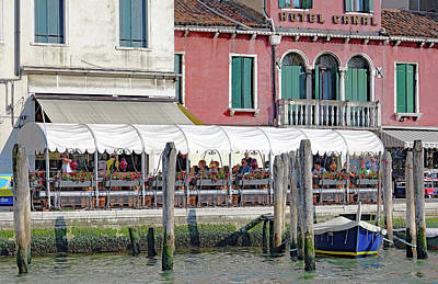 Photograph - Hotel Canal And A Ristorante In Front Of It In Venice, Italy by Richard Rosenshein
