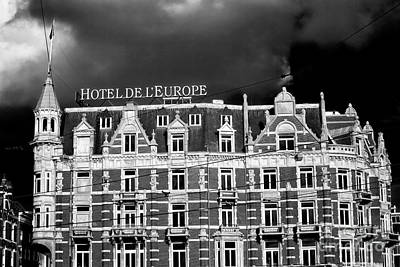 Photograph - Hotel De L'europe Mono by John Rizzuto