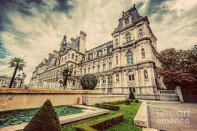 Fountain Photograph - Hotel De Ville In Paris, France. City Hall Building. Vintage by Michal Bednarek