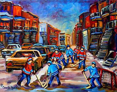 Kids Playing Hockey Painting - Hotel De Ville Montreal Hockey Street Scene by Carole Spandau