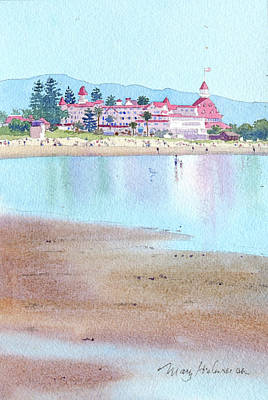 Historic Architecture Painting - Hotel Del Coronado Low Tide by Mary Helmreich