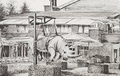 Rhinoceros Drawing - Hotel La Reserve Geneva by Vincent Alexander Booth
