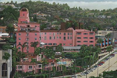 La Jolla Art Painting - Hotel La Valencia  La Jolla Ca by Robert Bradshaw