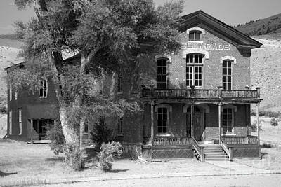 Bannack State Park Photograph - Hotel Meade Black And White by Adam Jewell