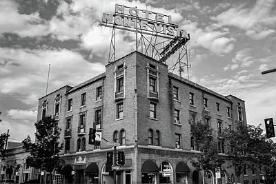 Photograph - Hotel Monte Vista - Flagstaff - Arizona - Black And White by Gregory Ballos