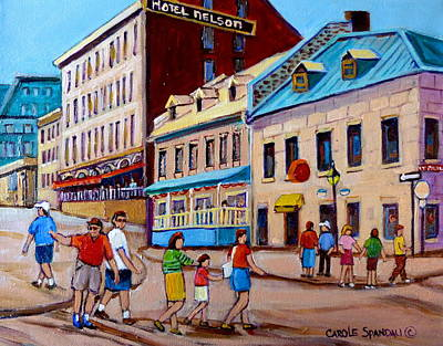 Rue Prince Arthur Painting - Hotel Nelson Old Montreal by Carole Spandau