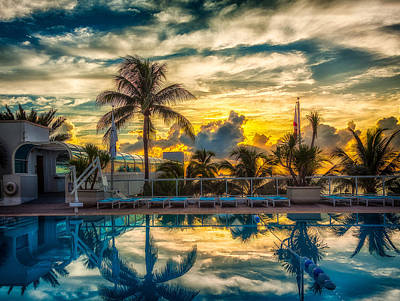 Photograph - Hotel Pool At Sunrise by Rikk Flohr