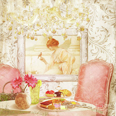 Hotel Paris, Tea Room For Lunch Circa 1900 Art Print by Tina Lavoie