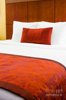Upscale Photograph - Hotel Room Bed  by Paul Velgos