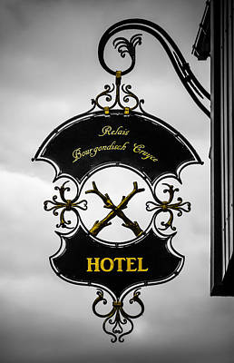Hotel Sign In Bruges Art Print