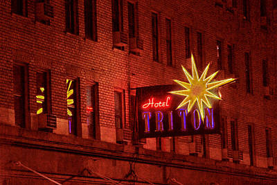 Photograph - Hotel Triton Neon Sign by Bonnie Follett