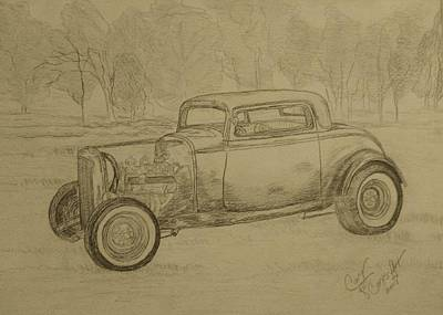 Painting - Hotrod 1934 Ford Coupe by Cary Singewald