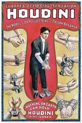Houdini Photograph - Houdini Advertising Poster 1906 by Jon Neidert