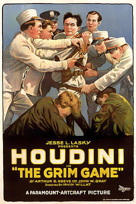 Silent Movie Star Mixed Media - Houdini In The Grim Game 1919 by Mountain Dreams