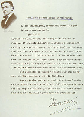 Autographs Drawing - Open Letter From Houdini Challenging Any Medium In The World by American School