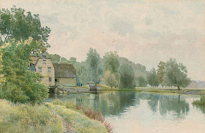 St Ives Wall Art - Painting - Houghton Mill On The River Ouse by William Fraser Garden