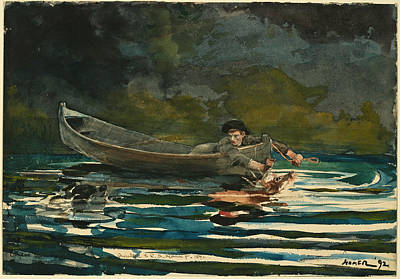 Winslow Homer Drawing - Hound And Hunter. Sketch by Winslow Homer