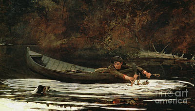 Dog Swimming Wall Art - Painting - Hound And Hunter by Winslow Homer