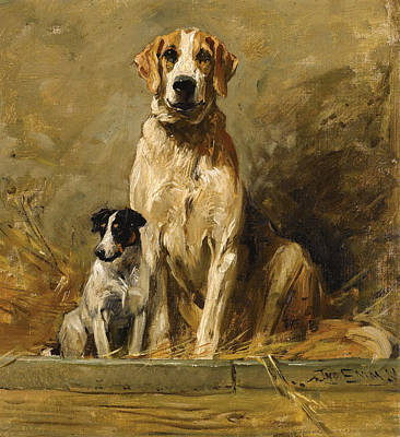 Painting - Hound And Terrier In A Kennel by John Emms
