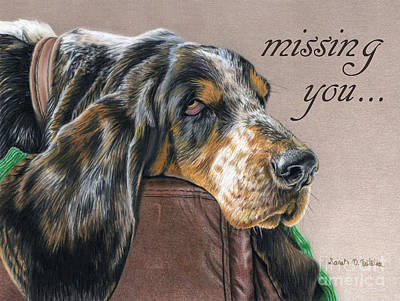 Basset Painting - Hound Dog- Missing You Cards by Sarah Batalka
